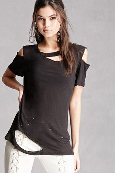 A distressed slub knit tee featuring a round neck, cutout detail, and short sleeves. This is an independent brand and not a Forever 21 branded item.