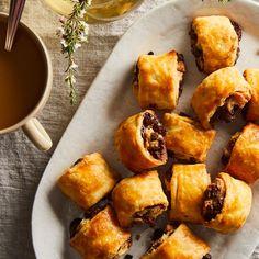 Chocolate-Walnut Rugelach recipe on Rugelach Cookies, Rugelach Recipe, Breakfast Biscuits, Breakfast Recipes, Hanukkah Food, Shortbread Recipes, Cream Cheese Cookies, Chocolate Filling, Jewish Recipes
