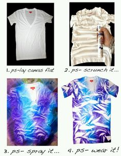 Diy tie dye. I really want to do this. I already have an old white v neck that still fits well