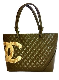 ac99ac0f89bf Chanel Green Lambskin Large Ligne Tote Shoulder Bag. So Stylish!