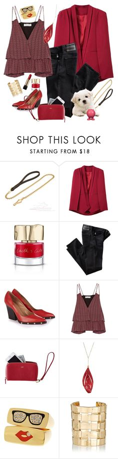 """""""Red/Black & Puppy"""" by petalp ❤ liked on Polyvore featuring Handle, WithChic, Smith & Cult, AG Adriano Goldschmied, Sonia Rykiel, Apiece Apart, Mark & Graham, Aurélie Bidermann, Lancôme and ootd"""