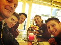 The lads of Celtic Thunder minus Keith having a breakfast before practicing for upcoming tour 2013!!