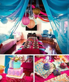 Gorgeous Arabian Themed Birthday Party. Plenty of decoration ideas that can be incorporated into a Shimmer and Shine party.
