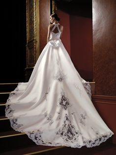 Long train wedding dress