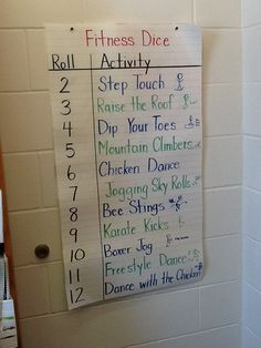 Dice game in music/dance class or gym with good music playing. Also, could laminate chart and use dry erase markers and change the activities.