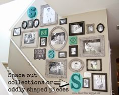 Bless'er House: The Most Efficient Way to Create a Gallery Wall make paper tracings of each frame to experiment & also mark where the holes/hangers are-very smart! Gallery Wall Staircase, Picture Wall Staircase, Stairway Walls, Stairs, Gallery Wall Layout, Gallery Walls, Frames On Wall, Paint Picture Frames, Large Frames