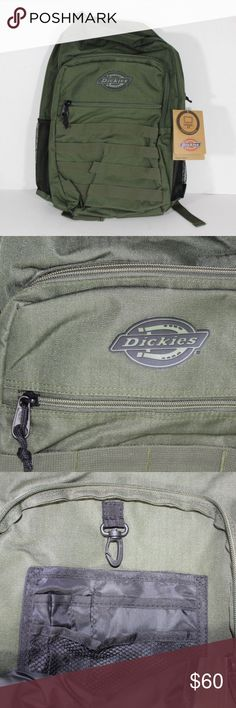 New Dickies Ripstop Fabric Olive Backpack Bookbag Dickies Ripstop Olive Green Spell Out Backpack  Backpack  New  Olive Green  Measures 19.5 inches top to bottom and 15 inches wide  Ripstop Nylon  Check out my other items for sale in my store! Dickies Bags Backpacks