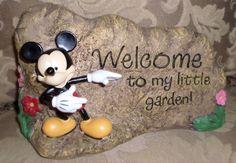 New Disney Mickey Welcome To My Little Garden Rock Yard Statue