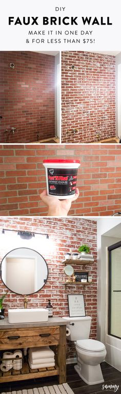 diy home decor - DIY Faux Brick Wall Home Renovation, Home Remodeling, Faux Brick Walls, Up House, Diy Home Improvement, Home Repair, Diy Wall, Home Projects, Farmhouse Decor