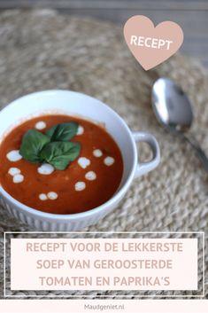 Recept voor de lekkerste tomatensoep, perfect voor het hele gezin! - Maudgeniet.nl Tapas, Pudding, Lunch, Homemade, Desserts, Recipes, Food, Tailgate Desserts, Deserts
