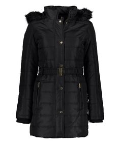Another great find on #zulily! Black Belted Quilted Puffer Coat by INTL d.e.t.a.i.l.s. #zulilyfinds