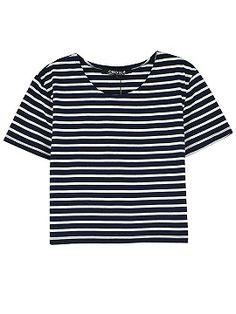 Shop Monochrome Stripe Short Sleeve Crop Top from choies.com .Free shipping Worldwide.$4.9