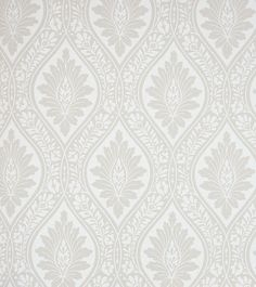 Florence Wallpaper Leaf wallpaper in cream on taupe