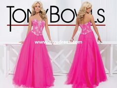 beautiful A-line tulle beaded peach long 2014 Prom Dress