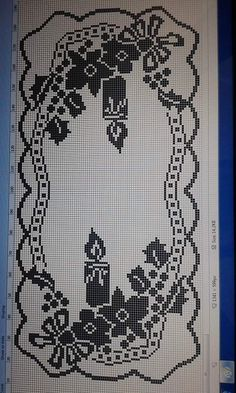 Scheme to realize the crochet filet runner Filet Crochet Charts, Crochet Motif, Crochet Doilies, Crochet Ornaments, Christmas Crochet Patterns, Crochet Winter, Holiday Crochet, Crochet Table Runner, Crochet Tablecloth