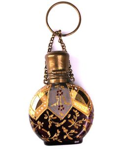 Antique Moser Enameled Amethyst Glass Perfume Scent Bottle Chatelaine w/ Stopper