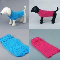 Perro Gato Mascota Suéter de punto Escudo color sólido cálido y acogedor suaves ropa para perros Pequeño gratuito y de la gota