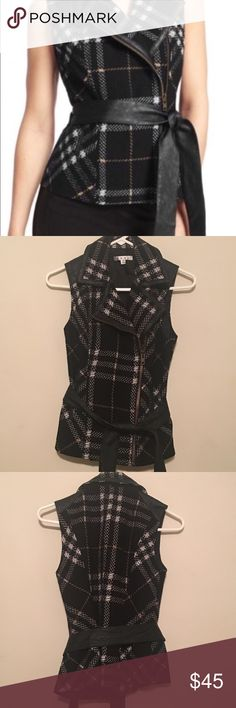 CAbi vest Must have plaid grid vest with faux leather accents...fully lined...great condition CAbi Jackets & Coats Vests
