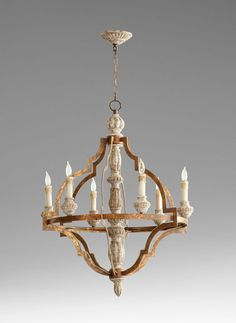 Cyan Designs Bastille 6 Light Chandelier in Sawyer's White Wash Plantation Bronze - 5256