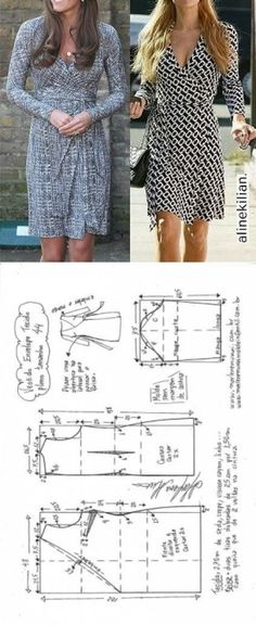 Wrap around dress pattern - Marlene Mukai Sewing Patterns Free, Sewing Tutorials, Clothing Patterns, Dress Patterns, Sewing Dress, Diy Dress, Sewing Clothes, Diy Fashion, Ideias Fashion