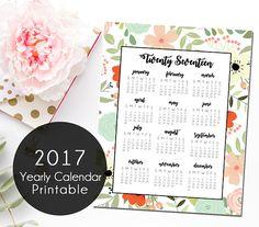 Floral 2017 Yearly Calendar, Printable Calendar, Instant Download 2017 Calendar