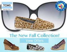 TOM'S Shoes from Autism United is MadameDeals'  sponsor for Fall Fashionista Event Oct. 11-17.  http://www.autismunited.org/shop/toms-coupon-code/ Mark your calendars for this awesome event http://stillblondeafteralltheseyears.com/2012/09/fashionista-events-fall-giveaway-2012-announcement-oct-11-17/