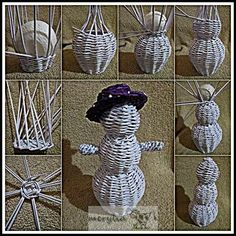 snowman Yule Crafts, Christmas Paper Crafts, Holiday Crafts, Christmas Decorations, Newspaper Basket, Newspaper Crafts, Paper Weaving, Weaving Art, Willow Weaving