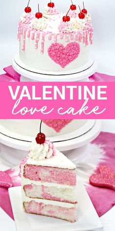 Our Valentines Day Cake is absolutely beautiful and super tasty! It's a triple layer pink and white cake with homemade vanilla frosting on top. Valentine's Day Dessert | Cake Recipes #food #yummy #cake #recipe #valentine #valentinesday