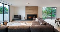 Blairgowrie Residence by InForm Design Pleysier Perkins - fireplace surround Wood Fireplace, Modern Fireplace, Fireplace Design, Black Fireplace, Living Spaces, Living Room, Living Area, Home Fashion, Home And Living