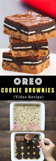 Oreo Cookie Brownies – An easy and fun treats that everyone will love. All you need is a few simple recipes: refrigerated chocolate chip cookie dough, oreos, brownie mix, egg, oil and water. So Good! Party food, party dessert recipes, vegetarian. Video recipe.