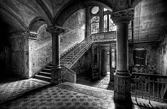 old castle interior staircase