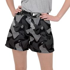Trippy, asymmetric Black and white, Paint Splash, Brown, Army Style Camo, Dotted Abstract Pattern Ripstop Shorts #pants #shorts #ripstop #cowcow #womens #fashion #look #style Army Style, Paint Splash, Abstract Pattern, Trippy, Camo, Print Patterns, Short Dresses, Dots, Black And White