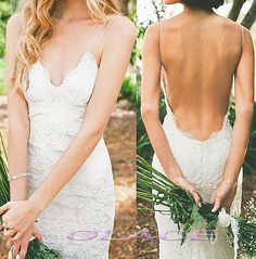 Hot Sexy Backless Very Low Open Back Lace Wedding Dress por OLACE