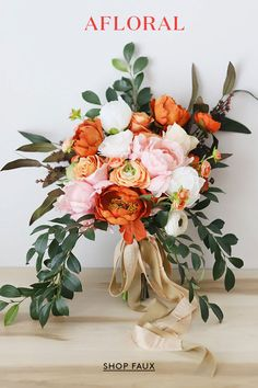Wedding bouquet ideas pink and orange wedding bouquet made with artificial flowers orange wedding, fall Orange Wedding Flowers, Fall Wedding Bouquets, Fake Flowers, Bridal Flowers, Orange Flowers, Flower Bouquet Wedding, Artificial Flowers, Silk Flowers, Floral Wedding