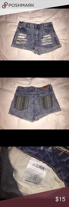 PacSun High Waisted Shorts High waisted shorts from PacSun. Rips on the front, cool patterned pockets on the back. Never worn. PacSun Shorts Jean Shorts