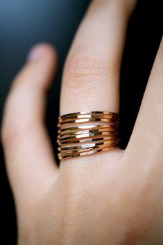 Ultra Thin Gold Filled stacking rings set of 10. via Etsy.