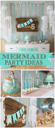 Such pretty colors at this lovely mermaid party! See more party planning ideas at CatchMyParty.com!