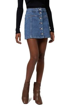 Topshop Button Front Denim Skirt (Mid Denim) (Petite) available at ...