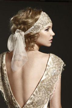 Roaring Twenties Headpieces | Vintage Wedding Headbands. Embroidered lace with sash headband
