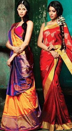 Saari on the left South Indian Sarees, South Indian Bride, Indian Bridal, Traditional Sarees, Traditional Outfits, India Fashion, Asian Fashion, Indian Dresses, Indian Outfits