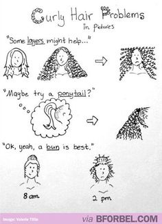"Curly Hair Problems in Pictures. If I could, I'd add, '""You should just straighten your hair"" (insert picture of crimped-ish hair jutting out in all directions, maintaining it's original curly frizziness)'. I seriously hate my hair. Curly Girl Problems, Mixed Girl Problems, Curly Hair Styles, Natural Hair Styles, Twisted Hair, My Hairstyle, Hairstyles, Natural Curls, Just For Laughs"