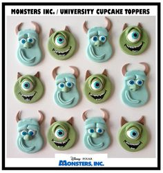 Monsters Inc University Cupcake Toppers Sulley and Mike Wazowski. www.facebook.com/EASYCAKEFUN
