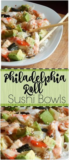 you love sushi? This tastes just like the Philadelphia rolls at my favorite sushi place but is so easy to put together! And you can eat a big ol' bowl of it instead of a lot of little pieces! Asian Recipes, Healthy Recipes, Easy Sushi Recipes, Easy Sushi Rolls, Seafood Recipes, Cooking Recipes, Onigirazu, Homemade Sushi, Salads