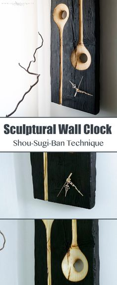 This clock is made from an old spruce board with the Shou-Sugi-Ban technique. It is a very ancient Japanese technique which consists in charring the wood surface, then washing it, brushing and finishing it with oil.