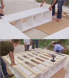 Creative Ideas - How to Build a Platform Bed with Storage Como construir uma cama de plataforma com Build A Platform Bed, Platform Bed With Storage, Build A Bed, Ikea Platform Bed Hack, Pallet Platform Bed, Platform Bed Frame, Plataform Bed, Lit Plate-forme Diy, Diy Bett