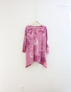 Tie dye boho tunic Upcycled clothing Autumn Long by SaidoniaEco