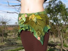 Forest faerie nuno felted wrap skirt/ festival pixie by PixeRose, $79.00