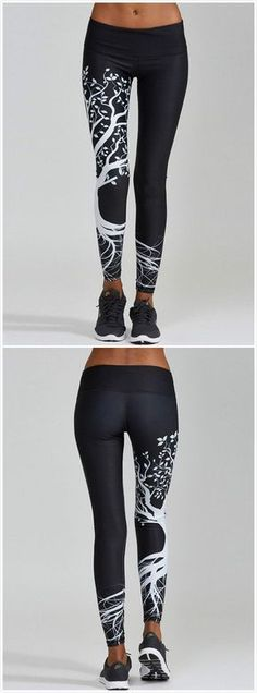 The leggings are made from 88%polyester and 12%spandex with wide waistband, skinny fit, tree printed and ankle length, They fit for yoga,running, gym and casual wear.
