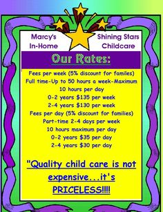 at home daycare | At Home Day Care Prices