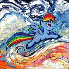 """Rainbow Dash Art PRINT - My Little Pony Inspired Art - van Gogh - Poster print - van Gogh Never Saw Cloudsvale - Art by Aja 8x8, 10x10, 12x12, 20x20, 24x24 inch sizes. Thank you for your interest in my art - ***Please read entire description of item.*** This is a print - it is NOT a painting. It is not on canvas. It is not framed. I do offer canvas options, please see other listings. This stunning print of my original painting entitled """"van Gogh Never Saw Cloudsvale"""" utilizes all silver..."""